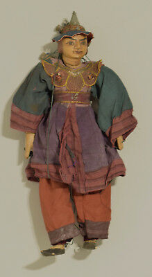 Burmese Asian Puppet Marionette Marionette Carved Wood Hand Painted