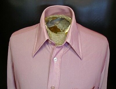 Vtg Sears Classic Red Pink Big Collared Long Sleeved Dress Shirt Sz Extra Large