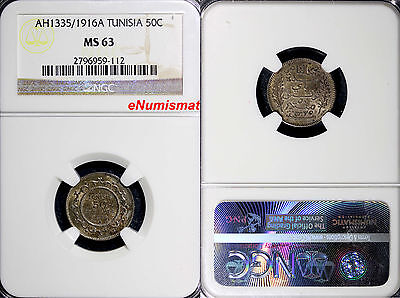 Tunisia Silver AH1335 / 1916 A 50 Centimes NGC MS63 Nice Toned KM# 237