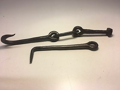 2 Antique Wrought Iron Door Hasp Latches Hooks Blacksmith Forge Made c1800s Nice