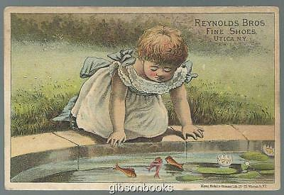 Victorian Trade Card Reynolds Brothers Fine Shoes with Little Girl and Goldfish