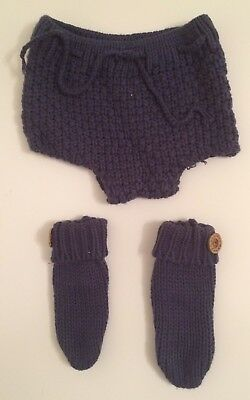 LITTLE NEWCOMERS 3 Pieces Newborn Baby Boy First Photo Crochet Outfit