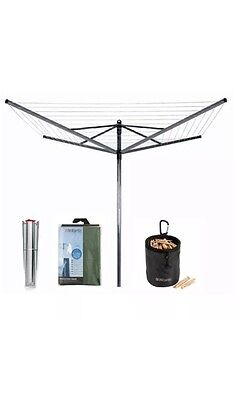 NEW Brabantia 50m Liftomatic Washing Line Rotary Airer+ Spike/Peg Bag/Cover/Pegs