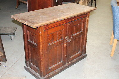 Antique Pitch Pine Gothic Cabinet
