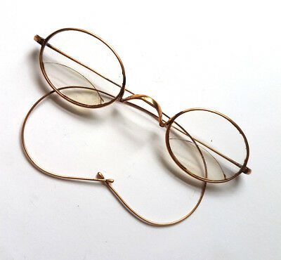 Antique Oval Spectacles Eye Glasses Gold Tone Steampunk