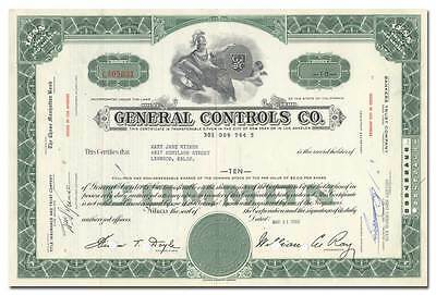 General Controls Co. Stock Certificate