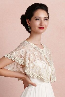 BHLDN Anthropologie Lace Capelet First Light Bridal Cover Up Shawl Gold Ivory