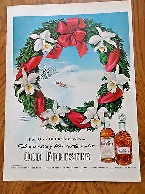 1951 Old Forester Whiskey Ad Winter Christmas Theme
