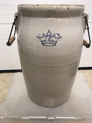 CROCK ANTIQUE 4 Gallon Blue Crown STONEWARE Robinson Ransbottom RED Bail Handles