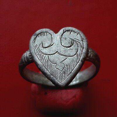 Medieval silver ring with Heart 15-16 century