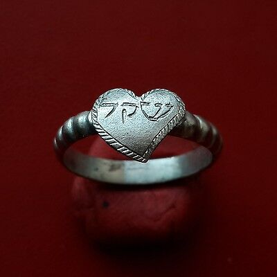 Medieval Judaic silver ring with Jewish Hebrew inscription, about 17-18 century