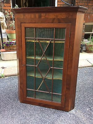 George III Mahogany Wall Mounted Corner Display Cabinet