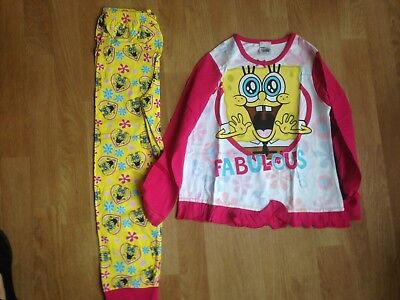 Girls SpongeBob SquarePants Pyjamas Ideal Xmas Gift 10/11 Year Old