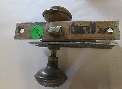 A Complete Set Of Antique Brass Victorian Door Knob Combinations W/ Lock # 130