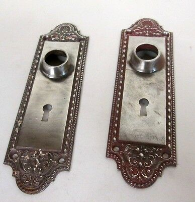 Fancy Set Antique Victorian Polished Nickel Plated Door Back Plates Estate # 14