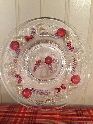 """Antique Glass Plate Fruit Embossed 7-1/4"""""""