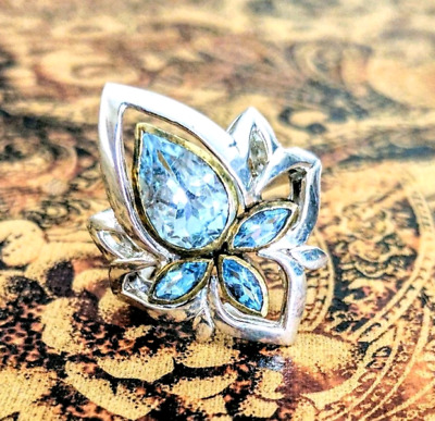 Blue Topaz Ring, Lotus Flower, Size 8 3/4 US, gold & silver, NEW