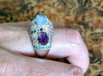 Multi Gemstone Ring, Size 9 US, Sterling Silver, Precious, NEW!