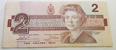 Canada 1986 Two Dollar Bank Note Circulated But Crisp