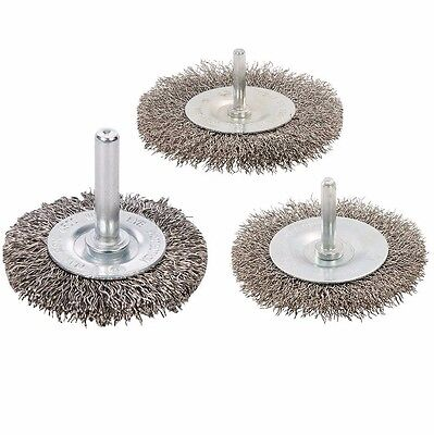 3 PACK ROTARY STAINLESS STEEL WIRE WHEEL BRUSH SET 50mm 75mm 100mm GRINDER P477