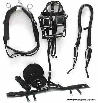 D.A. Brand Black Nylon Shetland Pony Driving Harness w/Silver Spots Horse Tack