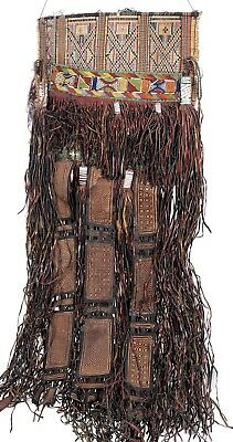 Old African Tuareg woven straw leather decoration Sahara Niger Mali West Africa