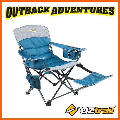 OZTRAIL MONARCH ARM CHAIR with footrest - BLUE - RECLINE BEACH CAMP CAMPING SEAT