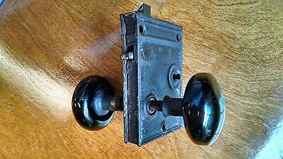 Antique Black Porcelain Door Knobs w/ Cast Iron Skeleton Key Lock Mechanism