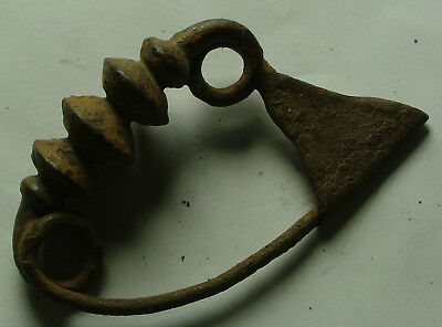 RARE iron hallshtatt period fibula brooch artifact 8 Cent BC intact original pin