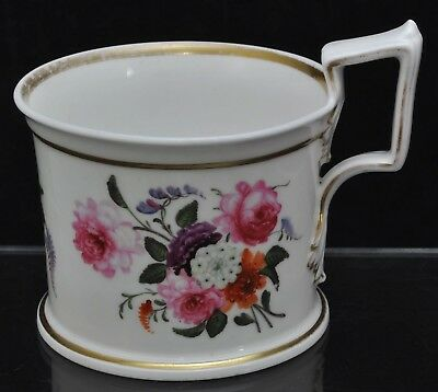 Antique Handpainted Polychrome Floral Staffordshire Mug circa 1840