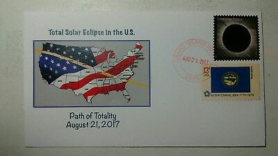 2017 Solar Eclipse Cover-Cancelled At Grand Island Nebraska With Flag Stamp!