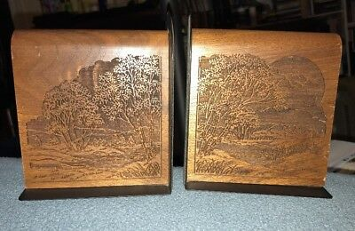 Pair Of Lasercraft Laser Cut Woodland River Setting Book Ends