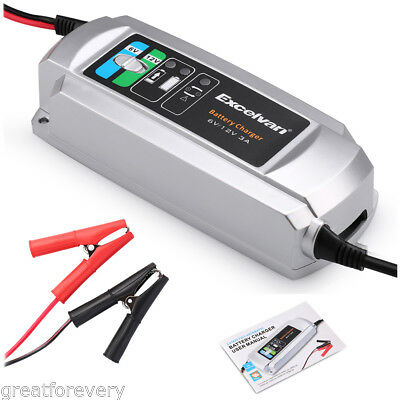 3-Step Battery Charger Maintainer 3A 6V/12V Trickle Car RV Motorcycle Mower New