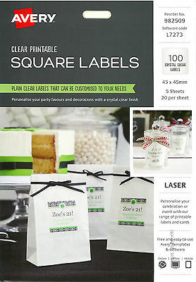 Avery Clear Printable Square Labels 100pk (982509)