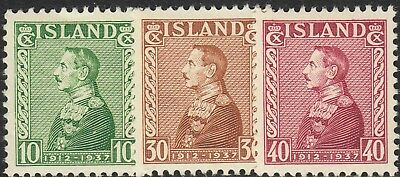 Iceland 1937 Silver Jubilee of King Christian X Set MUH