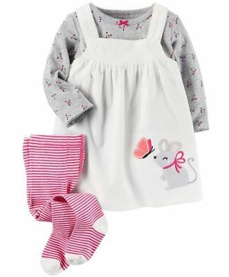 Carter's Baby Girls 3-Piece Tee Jumper Tights Set Owl Mouse 6 9 12 18 24 Month