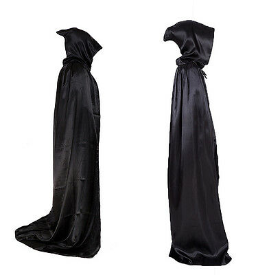 Top Hooded Cape Adult Unisex Long Cloak Black Halloween Costume Dress Coats - L