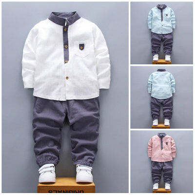 2pcs Kids Baby Boys Clothes Gentleman Set Fashion Stand collar Suit+Pant Outfits