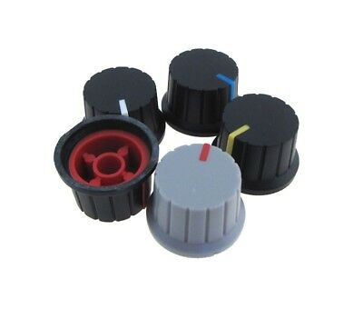 Knob Cap for 6mm Knurled Shaft Potentiometers Pot H15*W24mm - Pack of 5 Color