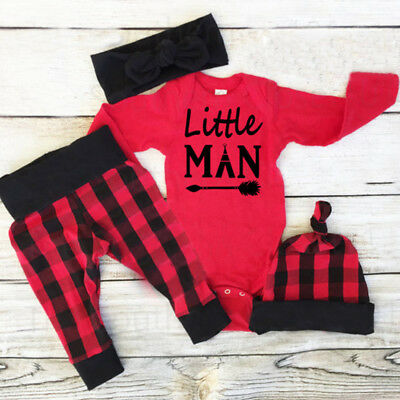 US 3PCS Set Newborn Toddler Baby Boy Tops Romper +Long Pants Hat Outfits Clothes