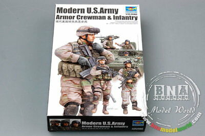 Trumpeter Model kit 1/35 Modern US Army Armour Crewman & Infantry (6 Figures)