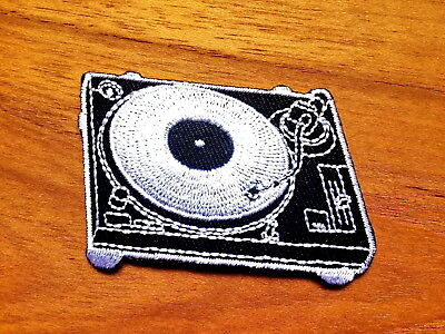 New Embroidered Black Turntable Iron On/Sew On Patch Badge