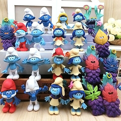 24pcs Smurfs The lost Village Smurfette Clumsy Action Figures Cake Topper Toy UK