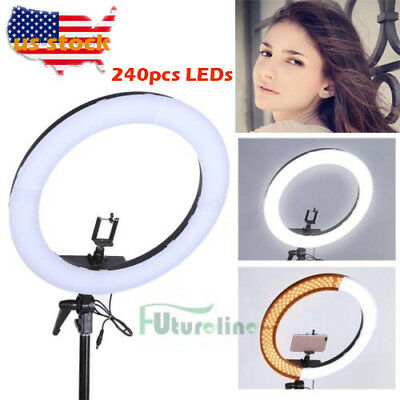 19inch 55W 240PCS LED SMD Dimmable 5500K Ring Video Light W/Color Filter Set USA
