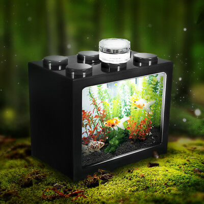 Clear Mini Box Fish Tank Aquarium LED Light Lamp Office Desktop Ornament Decor