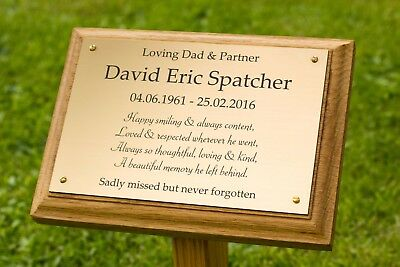 Oak Wooden Grave Memorial Marker With Engraved 6 x 4 Plaque Brass Effect/Silver