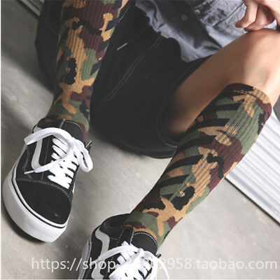 Mens Off Camouflage Twill Socks Cotton Skateboard Black White