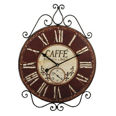 Large Rustic Cafe Metal & Wood Wall Clock Vintage Kitchen Wall Art W6658