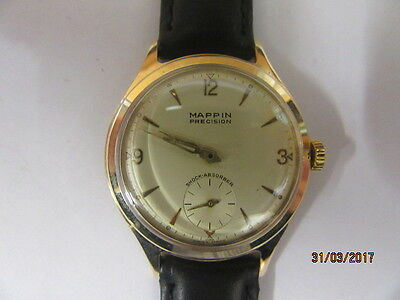 9ct Gold Mappin Precision Manual Wind Watch, Presented by Rowntree 1961. GWO