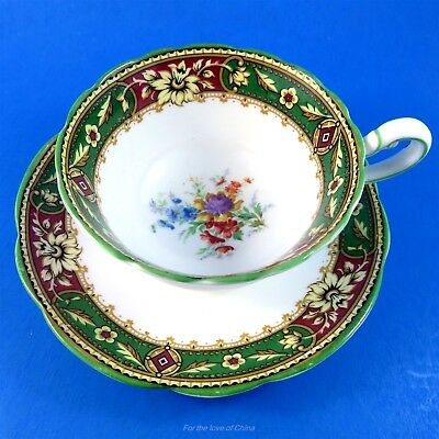 Star Mark Green & Burgundy Border with Flowers Paragon Tea Cup and Saucer Set